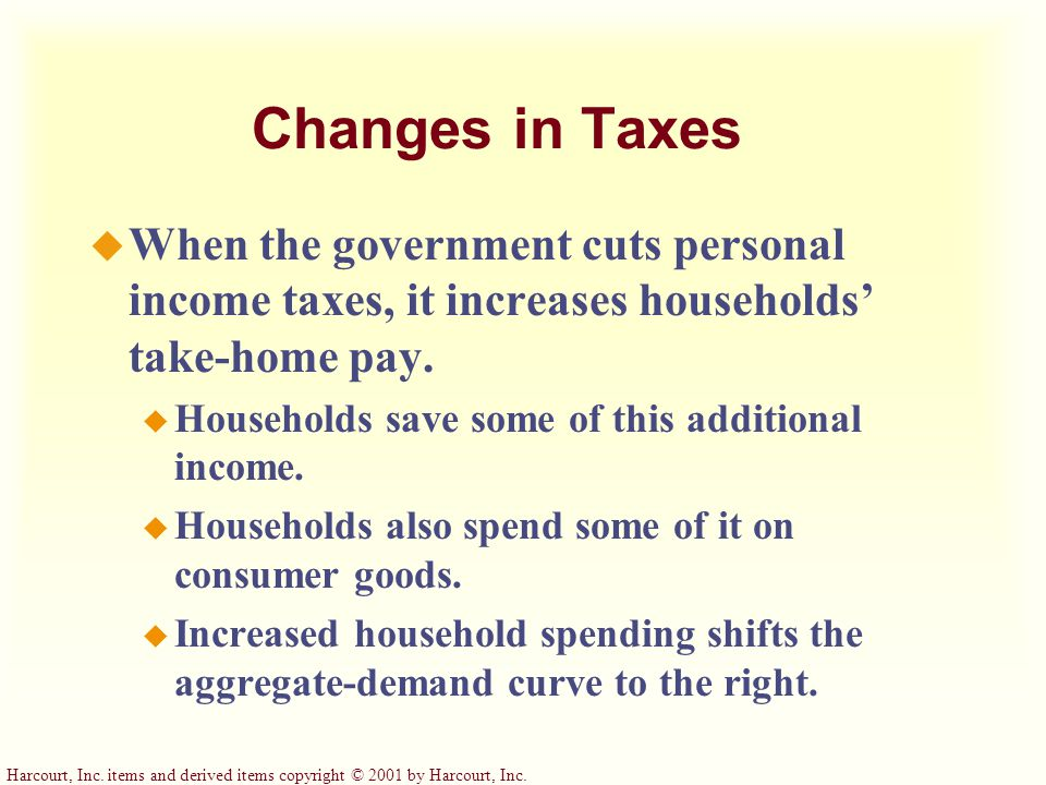 Changes in Taxes When the government cuts personal income taxes, it increases households' take-home pay.