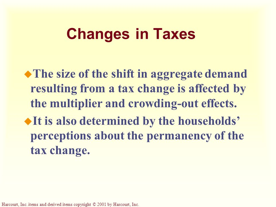 Changes in Taxes The size of the shift in aggregate demand resulting from a tax change is affected by the multiplier and crowding-out effects.