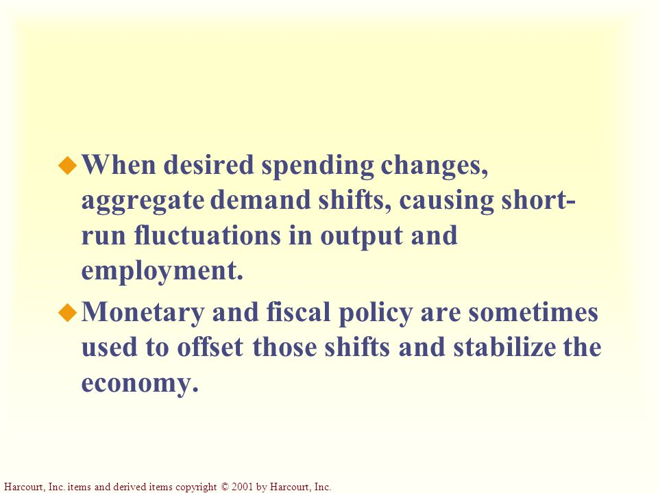 When desired spending changes, aggregate demand shifts, causing short-run fluctuations in output and employment.