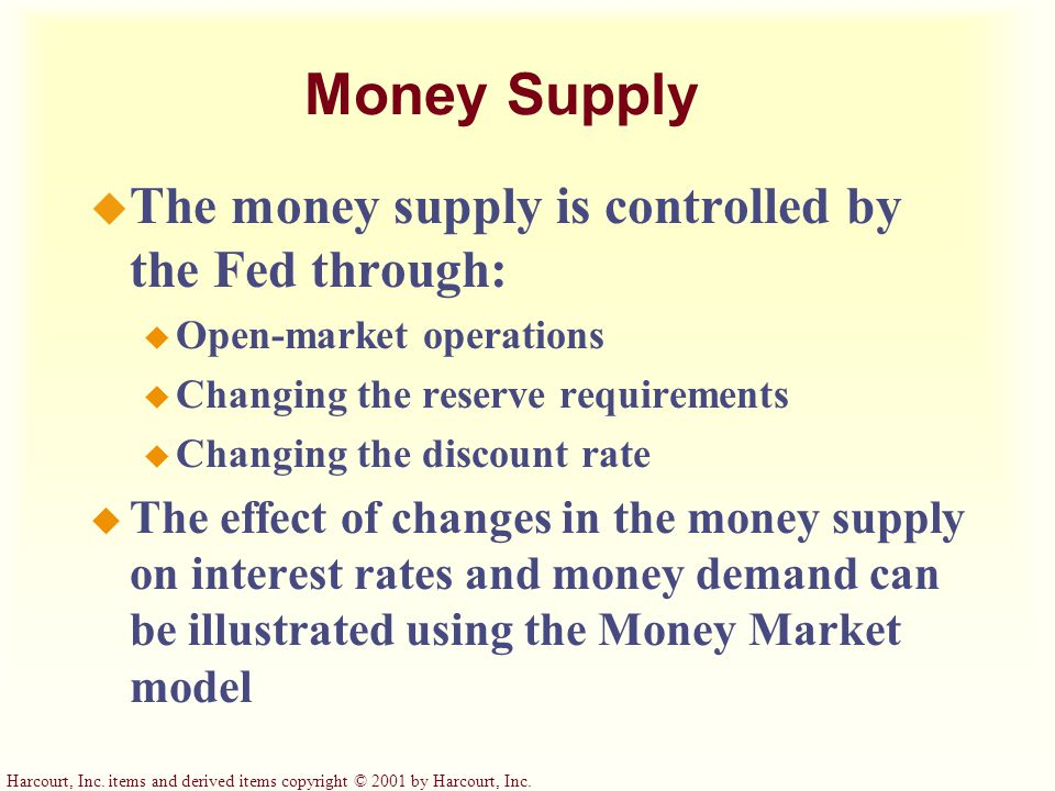 Money Supply The money supply is controlled by the Fed through: