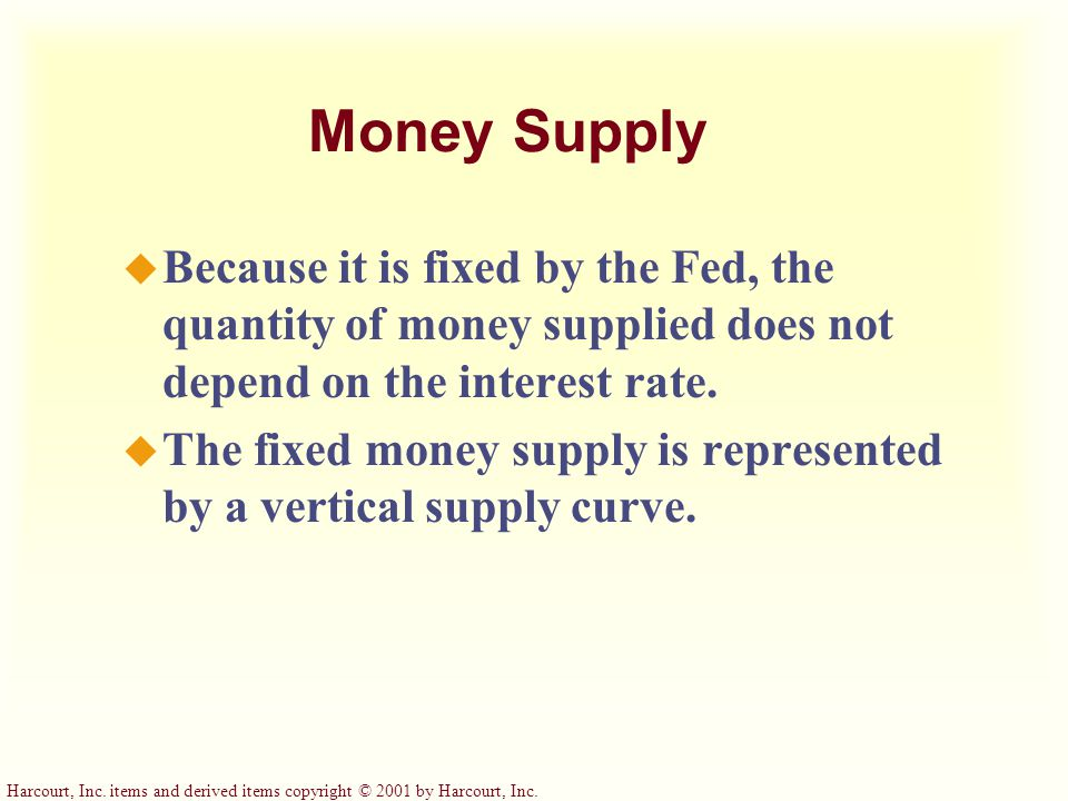 Money Supply Because it is fixed by the Fed, the quantity of money supplied does not depend on the interest rate.
