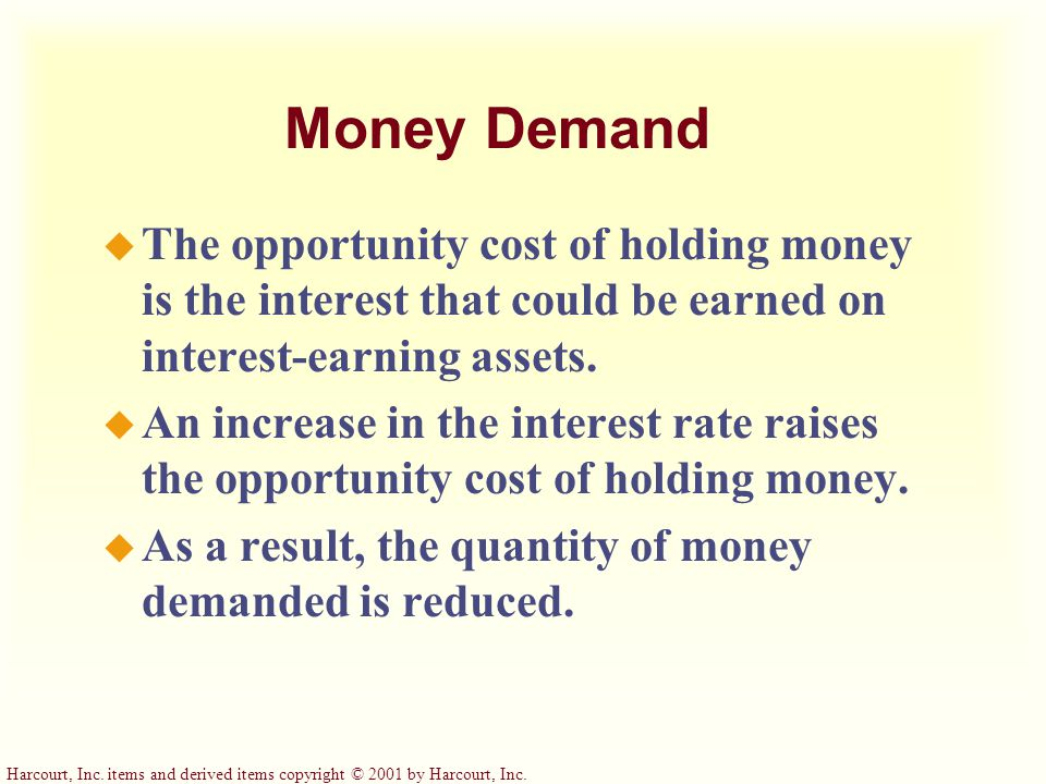 Money Demand The opportunity cost of holding money is the interest that could be earned on interest-earning assets.
