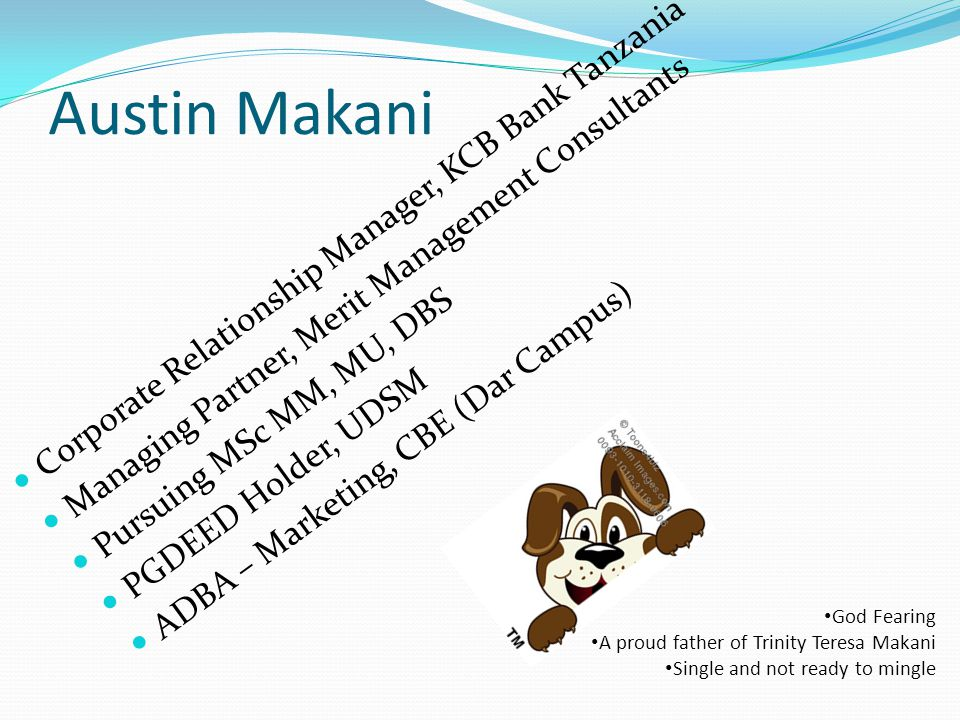 Austin Makani Corporate Relationship Manager, KCB Bank Tanzania