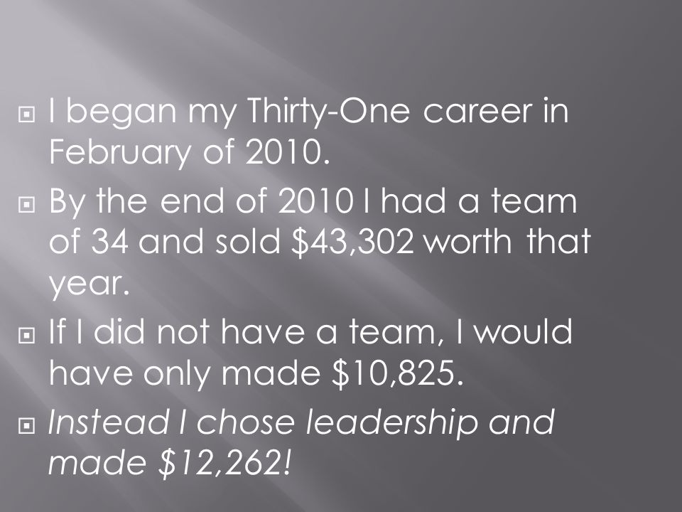 I began my Thirty-One career in February of 2010.