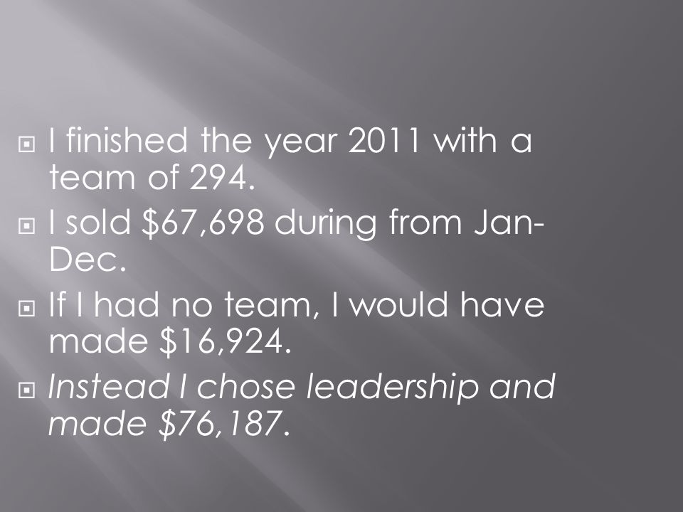 I finished the year 2011 with a team of 294.
