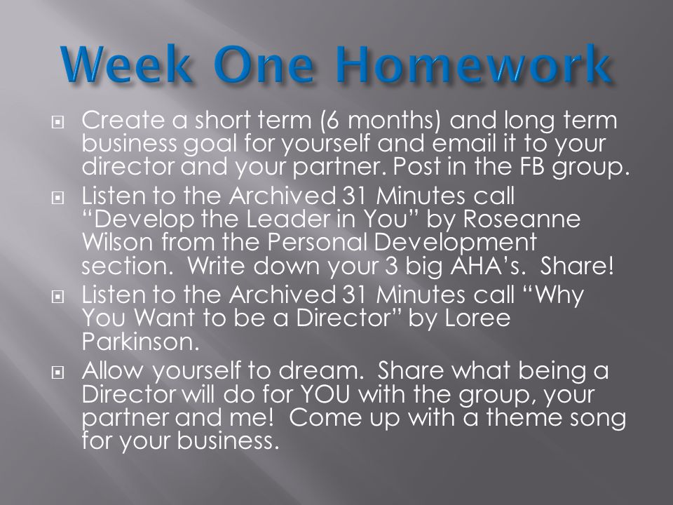Week One Homework