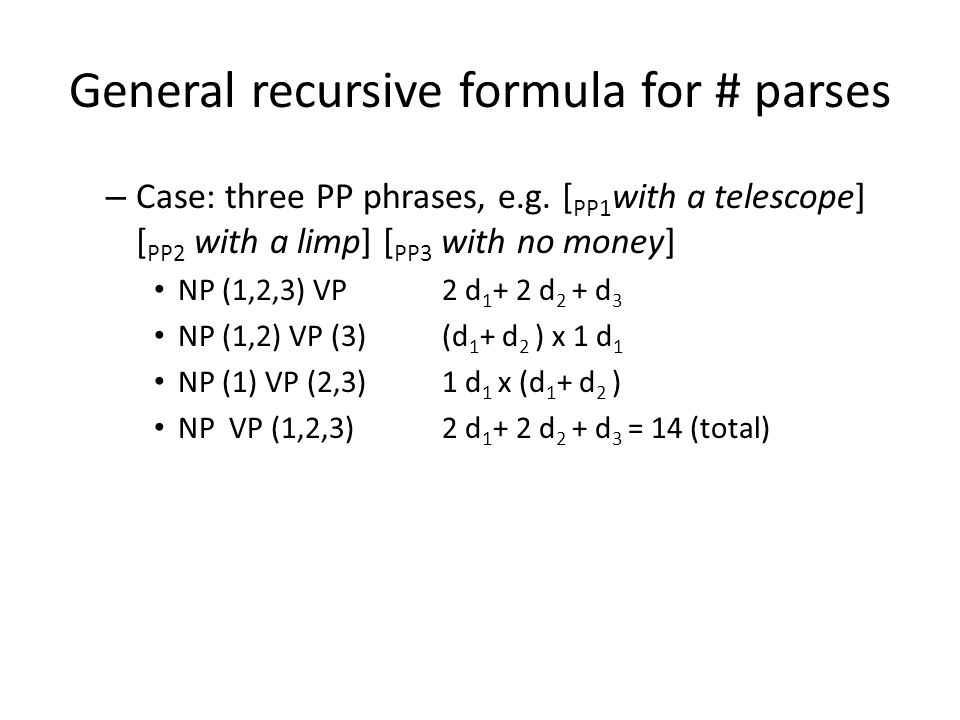 General recursive formula for # parses