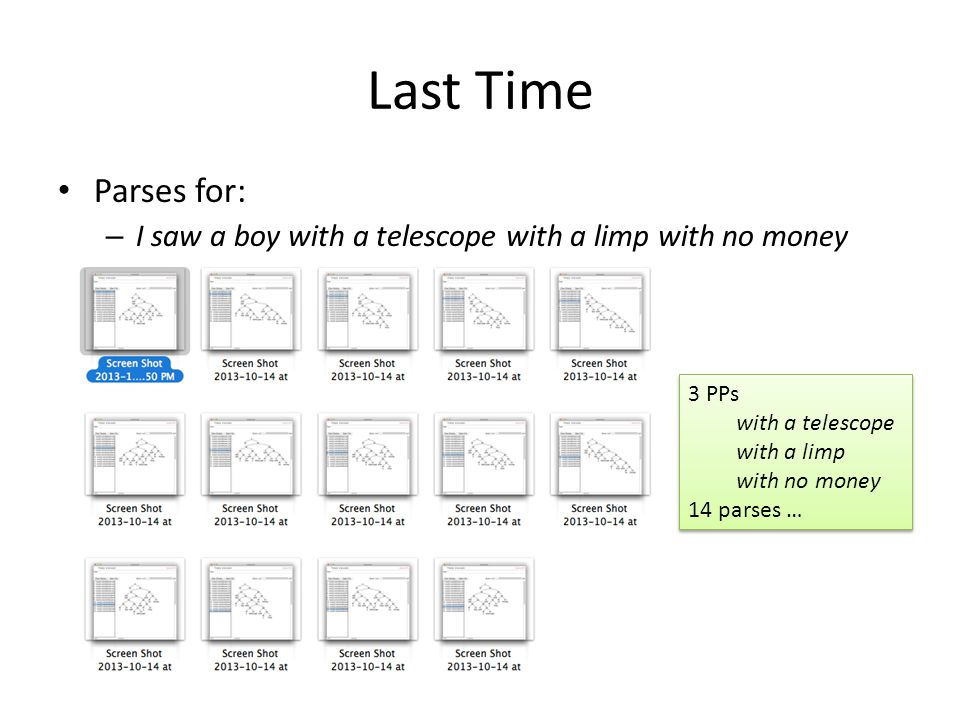 Last Time Parses for: I saw a boy with a telescope with a limp with no money. 3 PPs. with a telescope.
