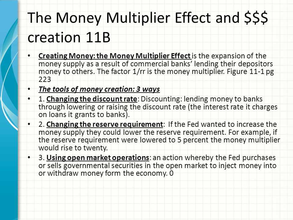 The Money Multiplier Effect and $$$ creation 11B