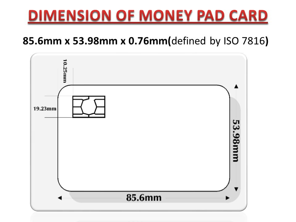 DIMENSION OF MONEY PAD CARD