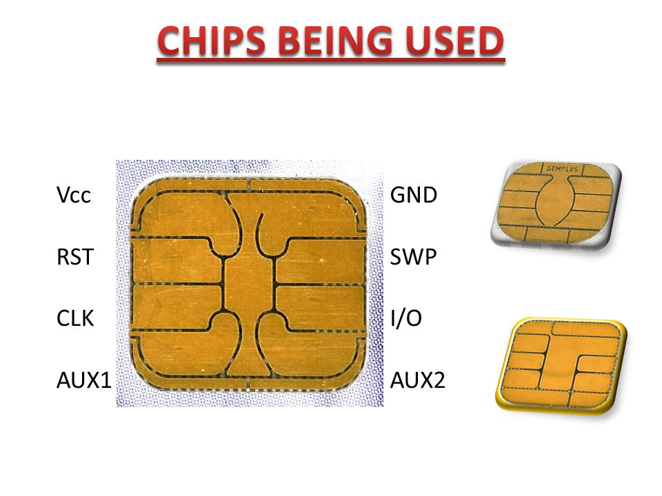 CHIPS BEING USED Vcc RST CLK AUX1 GND SWP I/O AUX2