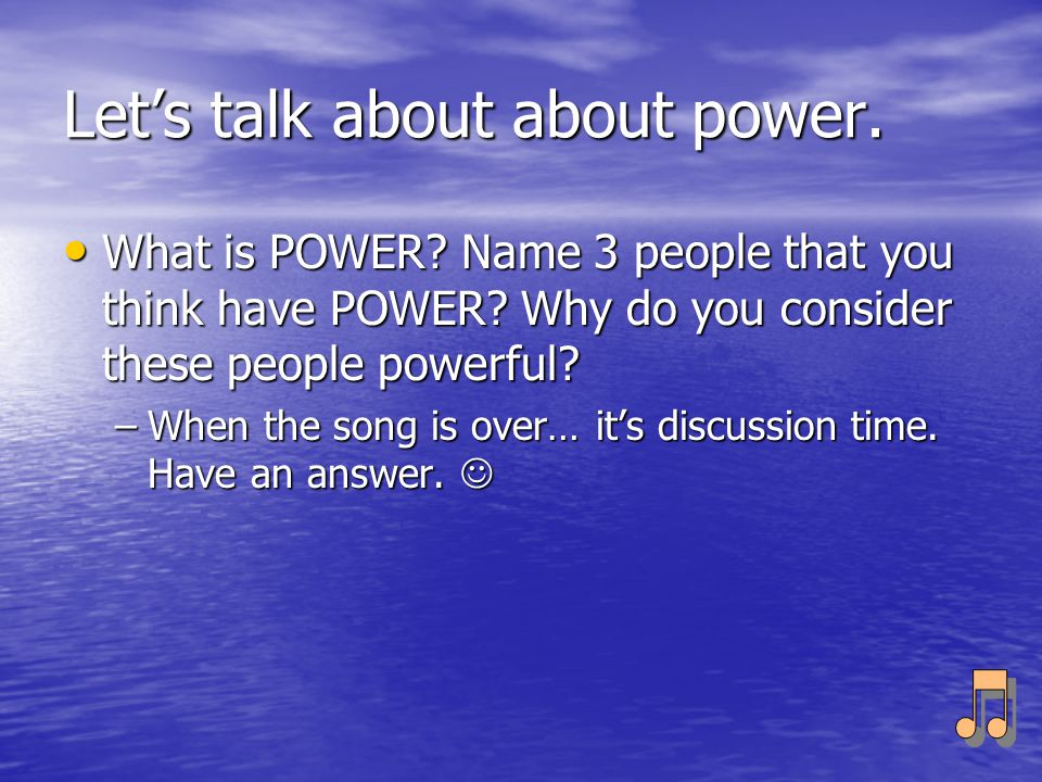 Let's talk about about power.