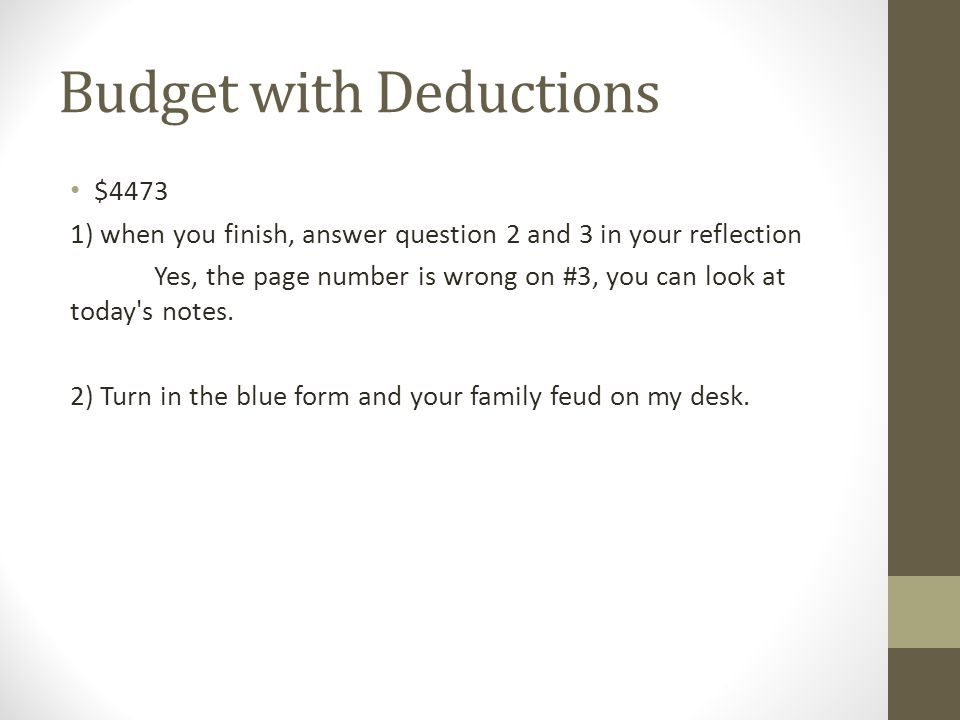 Budget with Deductions