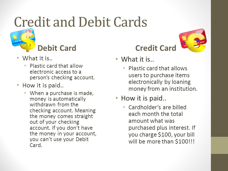 Credit and Debit Cards Debit Card Credit Card What it is..