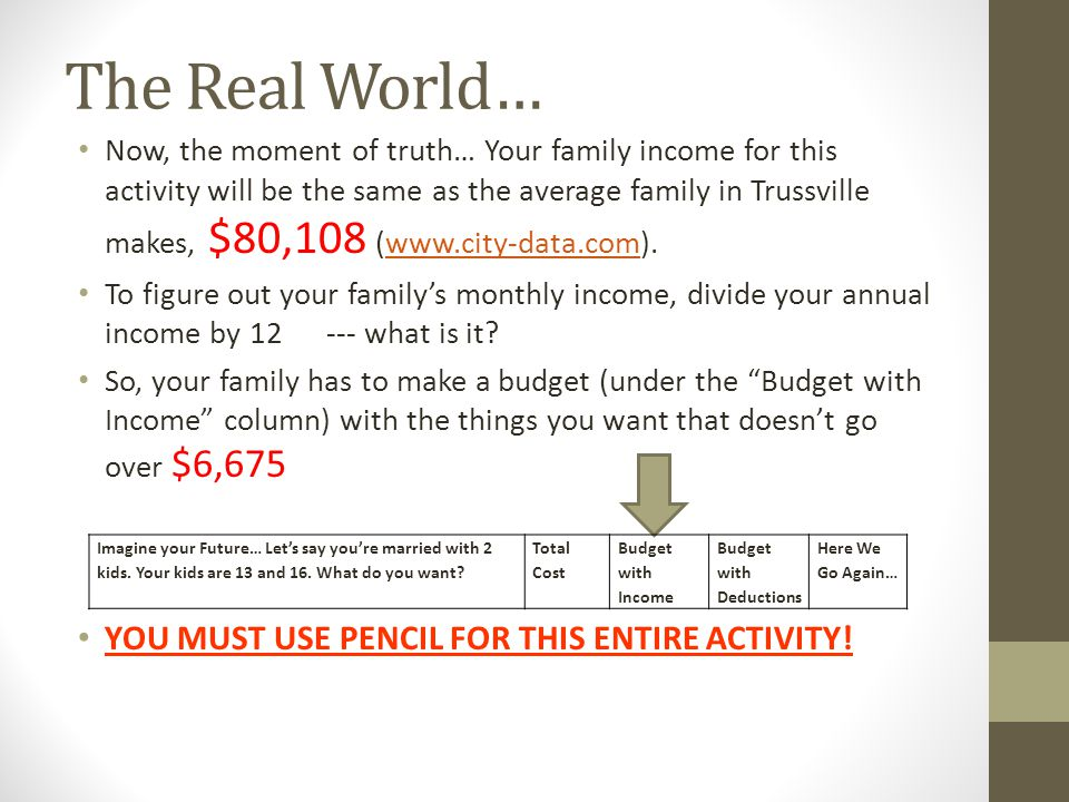 The Real World… YOU MUST USE PENCIL FOR THIS ENTIRE ACTIVITY!