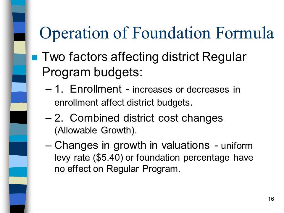 Operation of Foundation Formula