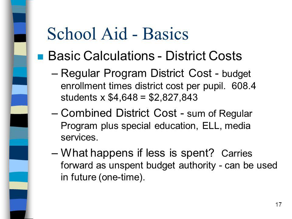 School Aid - Basics Basic Calculations - District Costs