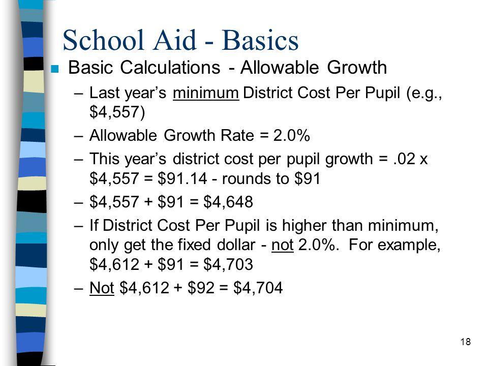 School Aid - Basics Basic Calculations - Allowable Growth