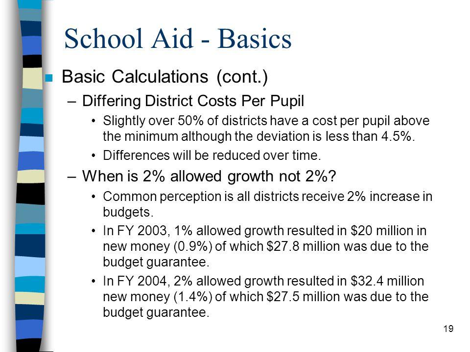 School Aid - Basics Basic Calculations (cont.)