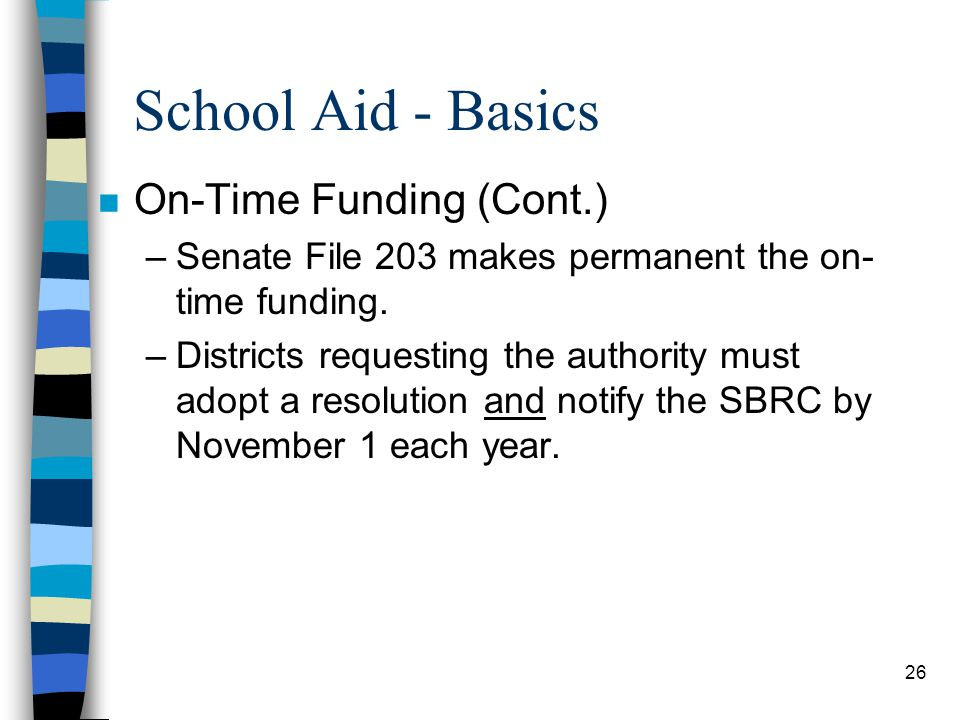 School Aid - Basics On-Time Funding (Cont.)