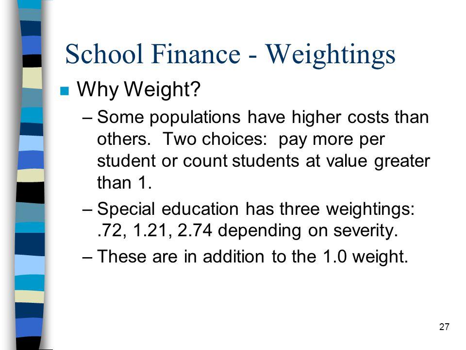 School Finance - Weightings