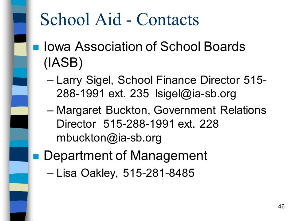 School Aid - Contacts Iowa Association of School Boards (IASB)