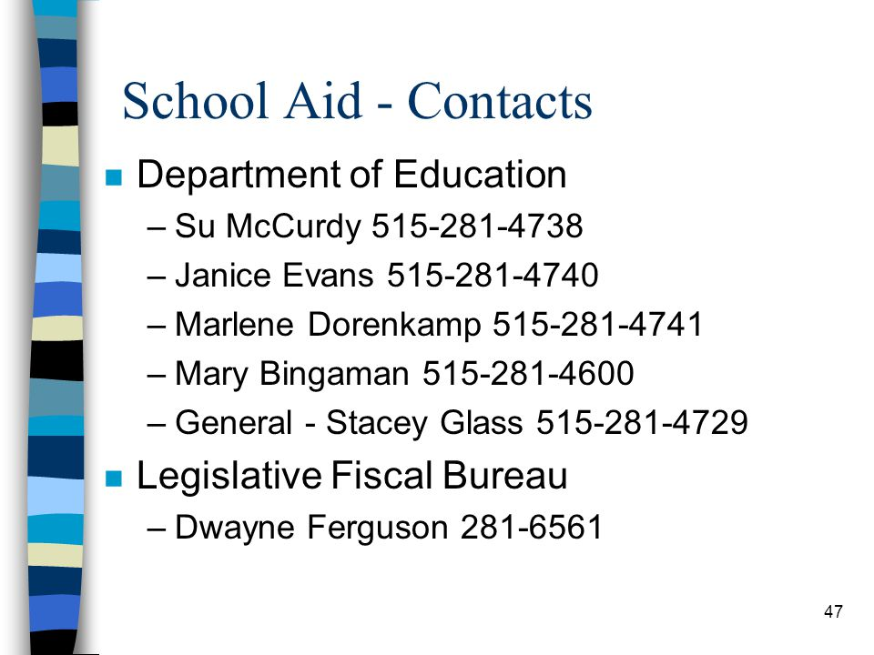 School Aid - Contacts Department of Education