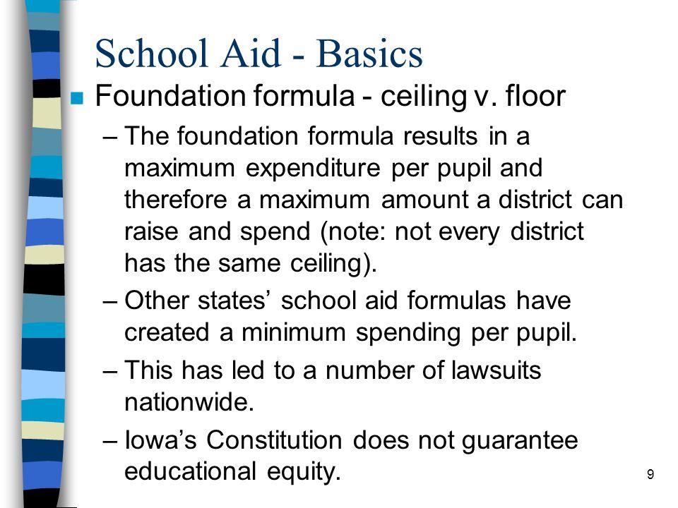 School Aid - Basics Foundation formula - ceiling v. floor