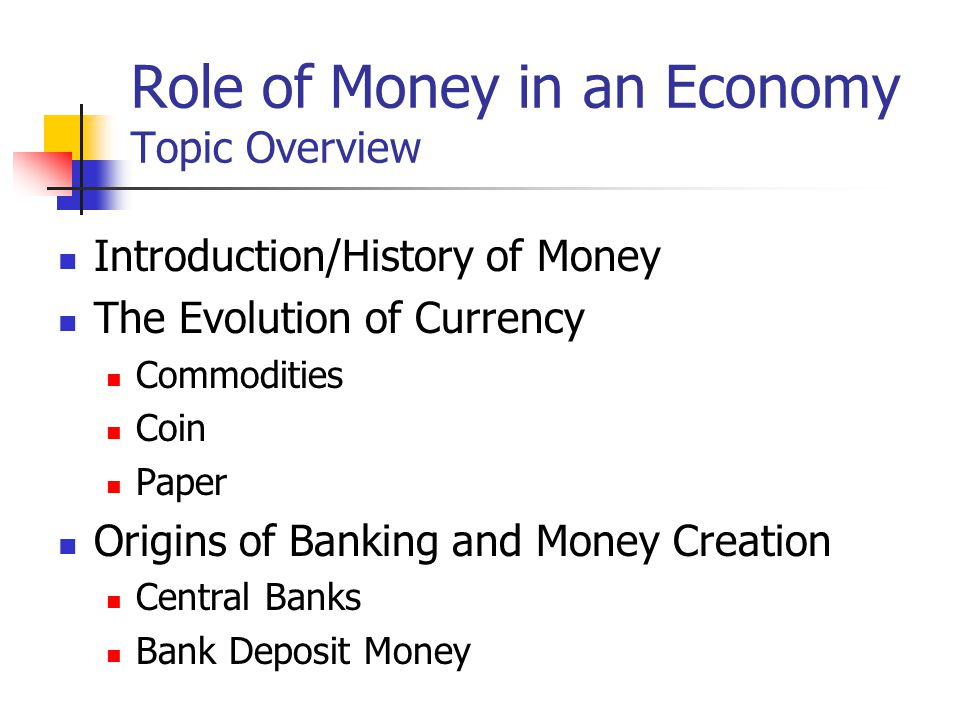 Role of Money in an Economy Topic Overview