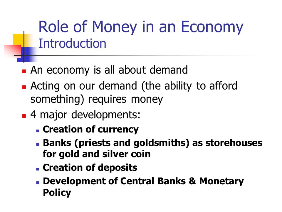 Role of Money in an Economy Introduction