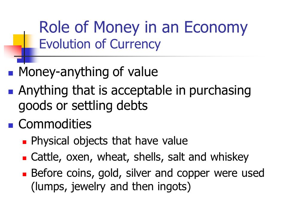 Role of Money in an Economy Evolution of Currency
