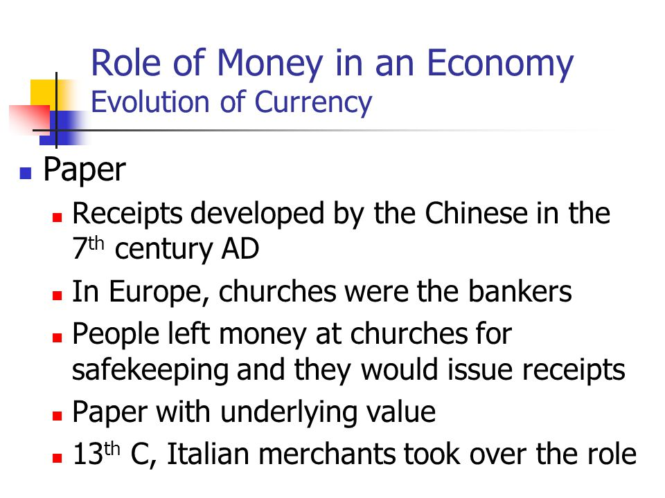 role of money Title: the role of money in economic history created date: 20160807113032z.