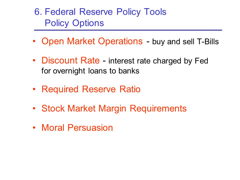 6. Federal Reserve Policy Tools Policy Options