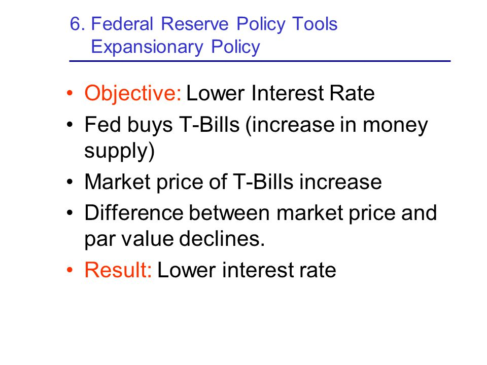 6. Federal Reserve Policy Tools Expansionary Policy
