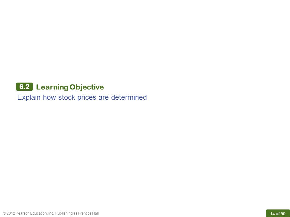 6.2 Learning Objective Explain how stock prices are determined