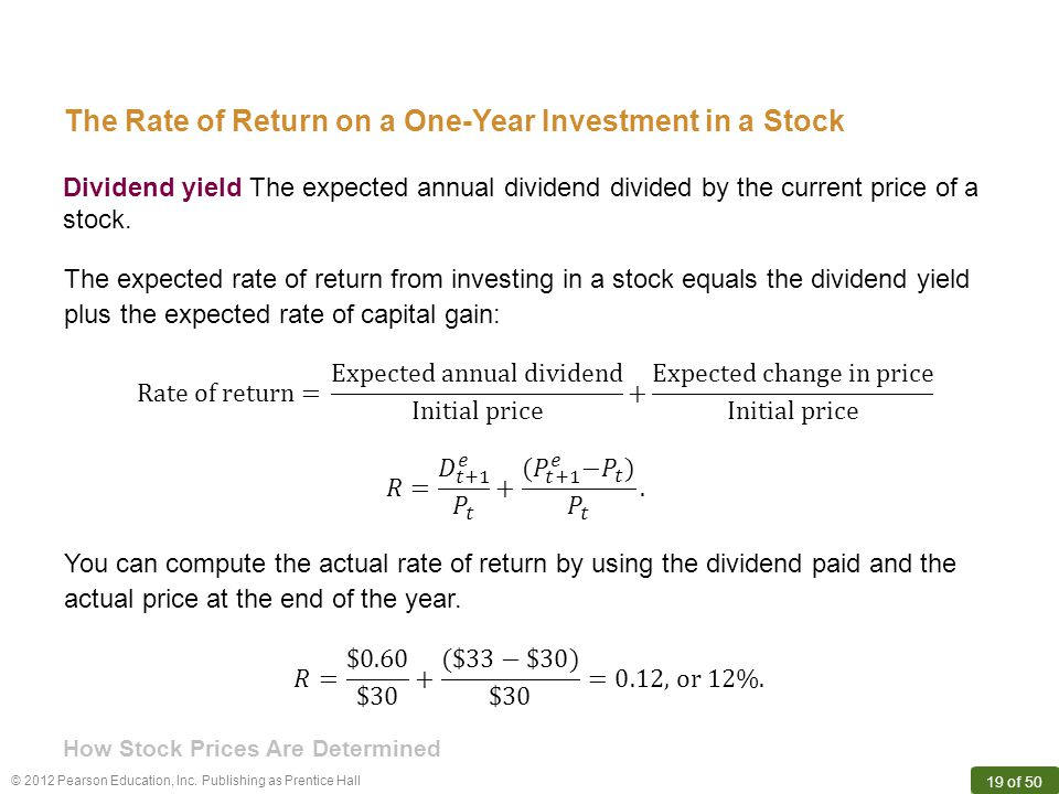 The Rate of Return on a One-Year Investment in a Stock
