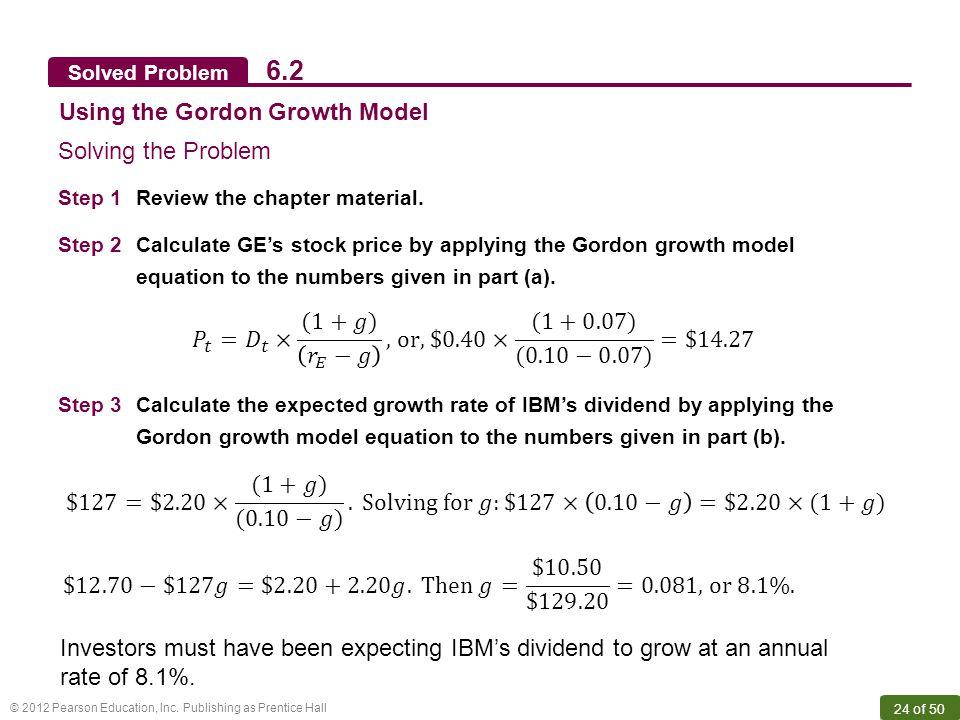 6.2 Using the Gordon Growth Model Solving the Problem