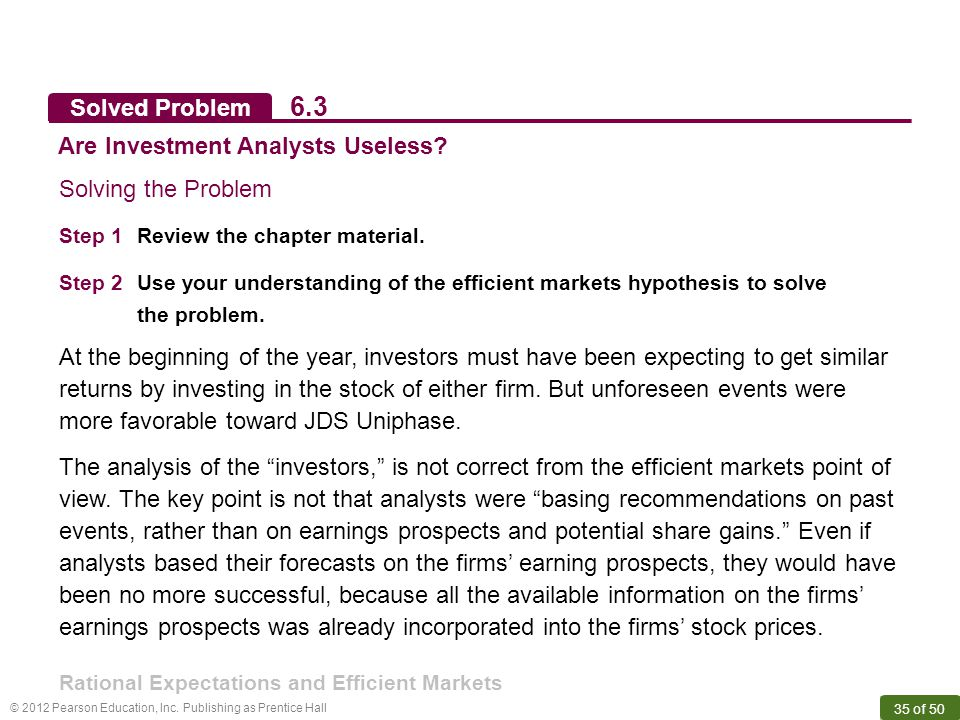 6.3 Solved Problem Are Investment Analysts Useless