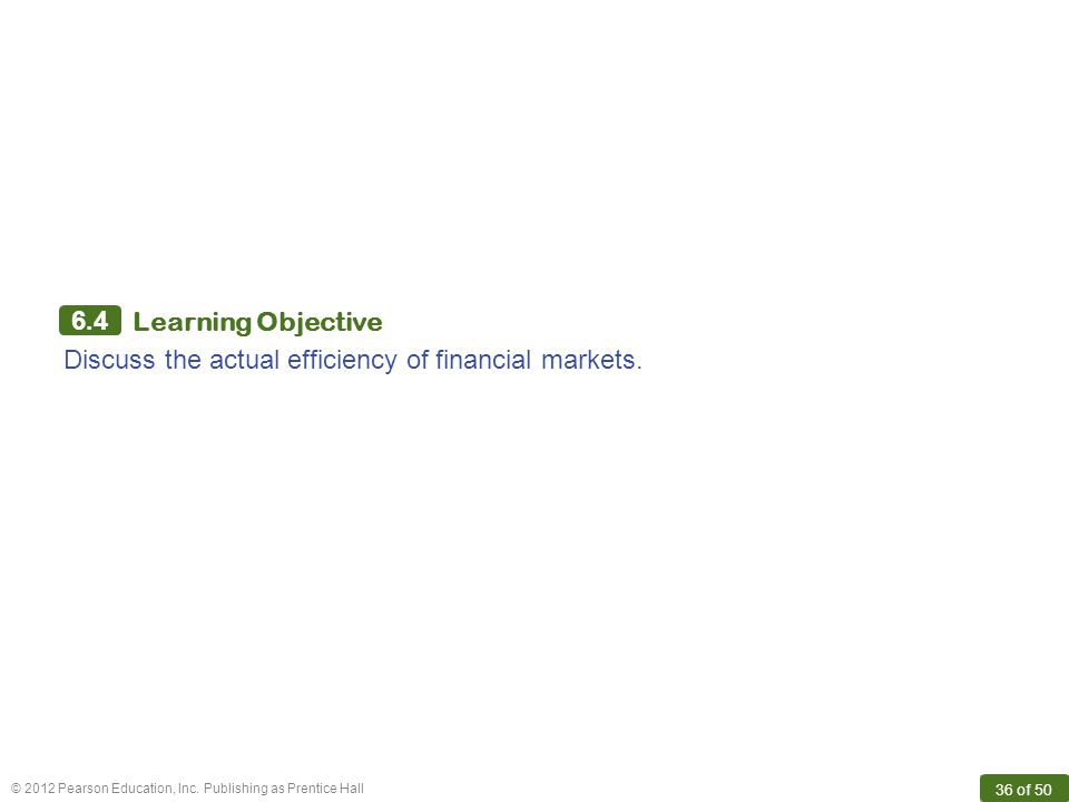 6.4 Learning Objective Discuss the actual efficiency of financial markets.