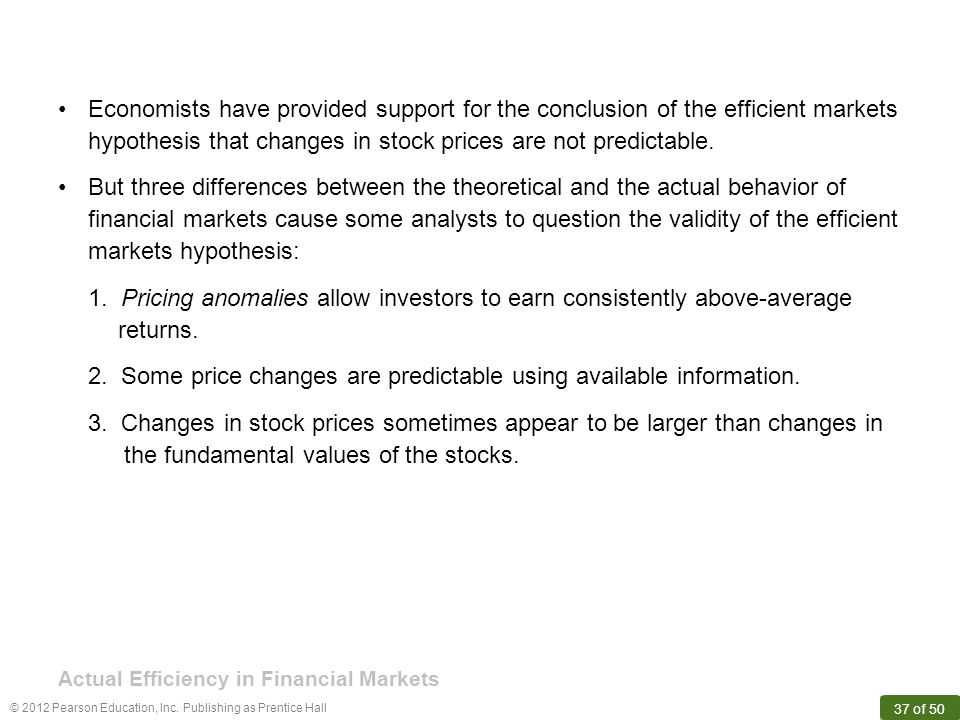 Actual Efficiency in Financial Markets