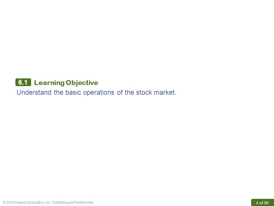 6.1 Learning Objective Understand the basic operations of the stock market.