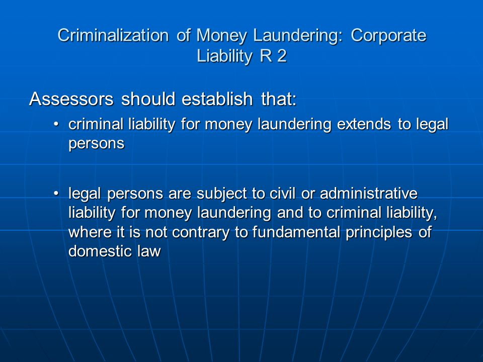 Criminalization of Money Laundering: Corporate Liability R 2