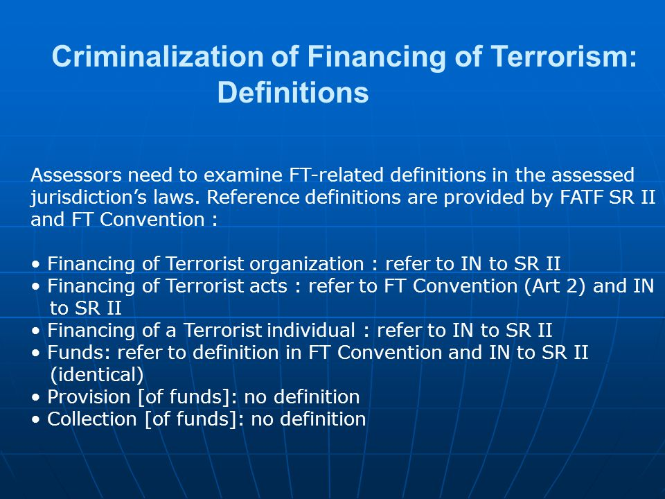 Criminalization of Financing of Terrorism: Definitions