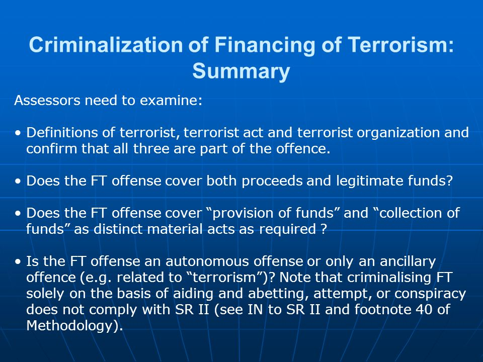 Criminalization of Financing of Terrorism: Summary