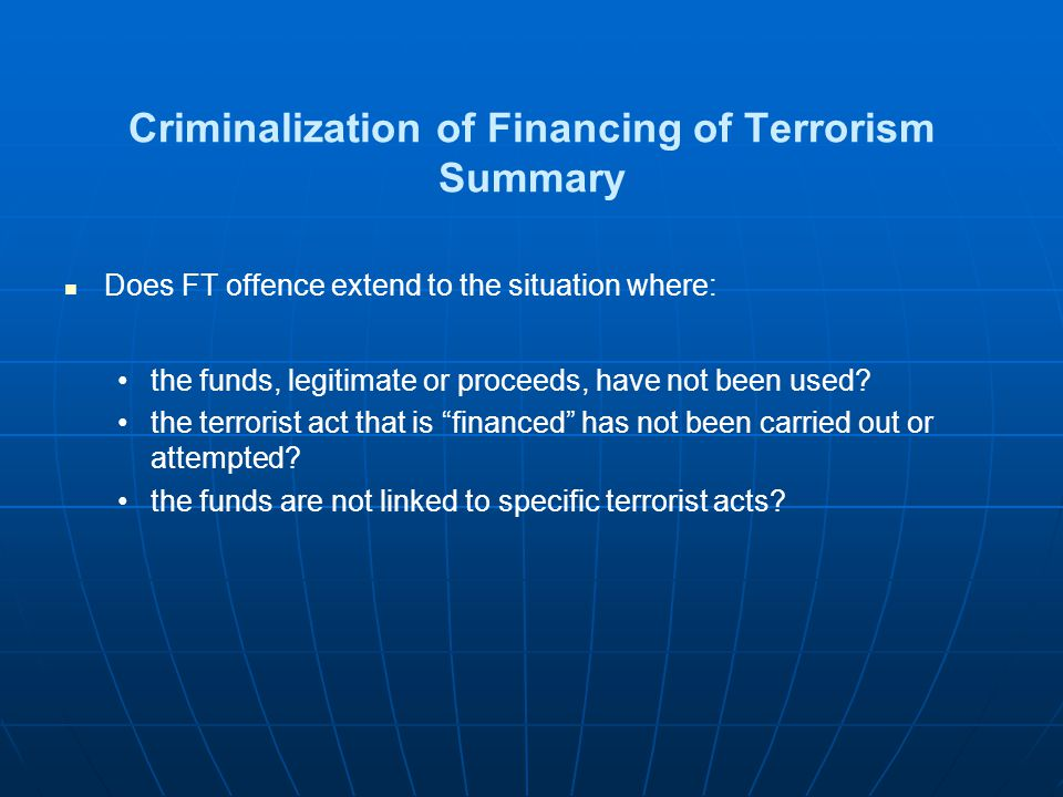 Criminalization of Financing of Terrorism Summary