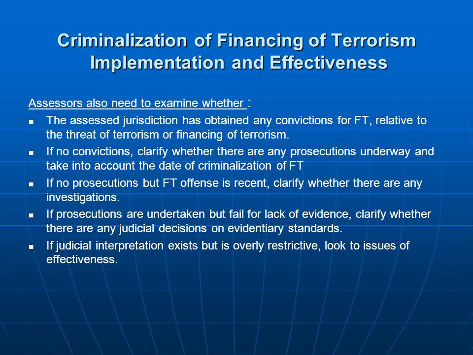 Criminalization of Financing of Terrorism Implementation and Effectiveness