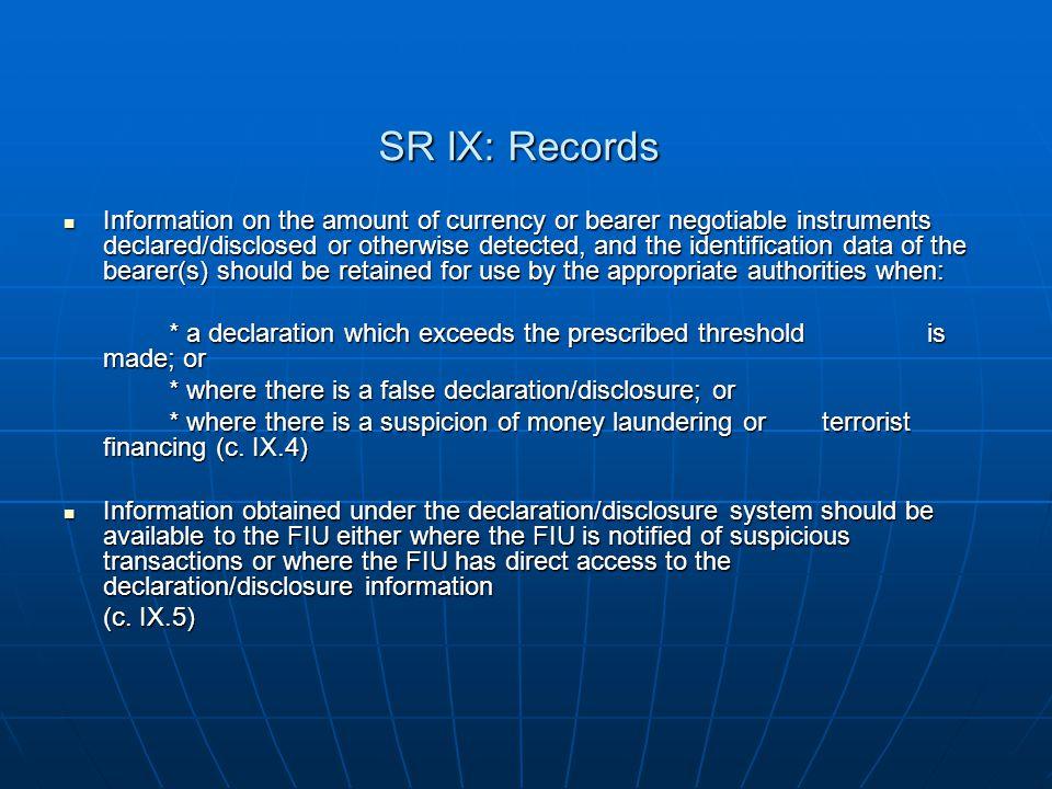 SR IX: Records