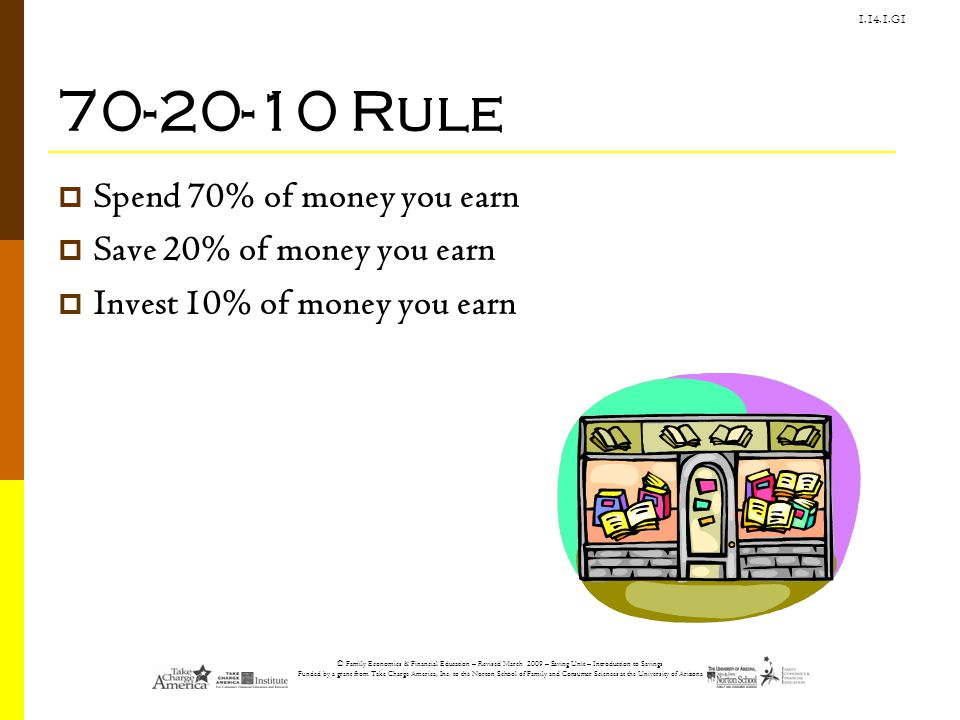 70-20-10 Rule Spend 70% of money you earn Save 20% of money you earn