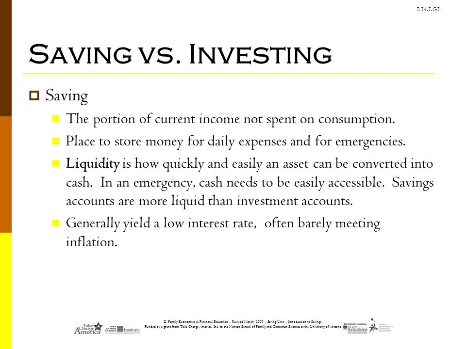Saving vs. Investing Saving