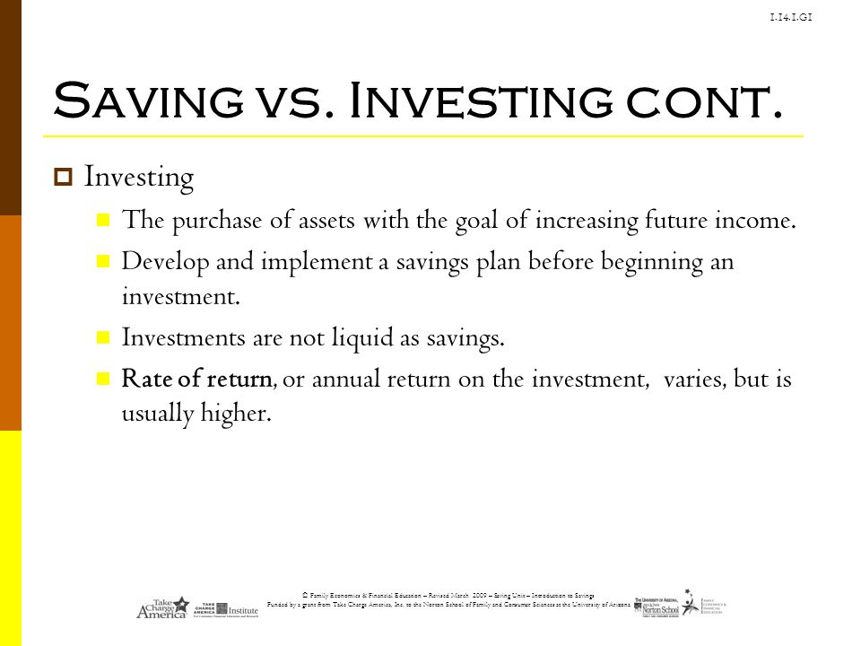 Saving vs. Investing cont.